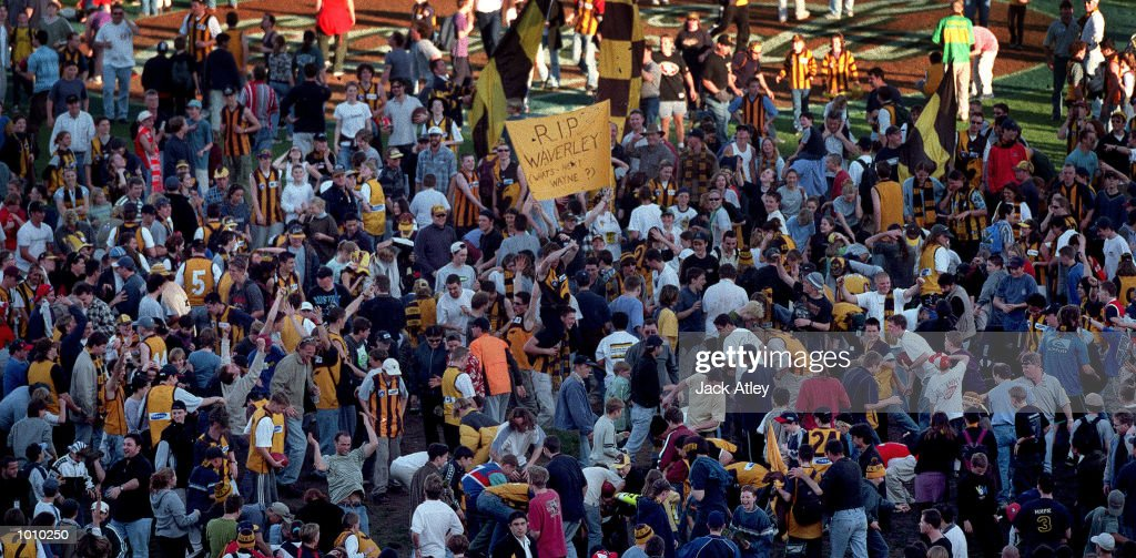 Hawthorn Hawks fans converge in the centre of Waverley Park following the round 22 Australian Football League match between Hawthorn and Sydney played at Waverley Park, Melbourne, Australia. This was the last Australian Football League matchat the ground. Mandatory Credit: Jack Atley/ALLSPORT
