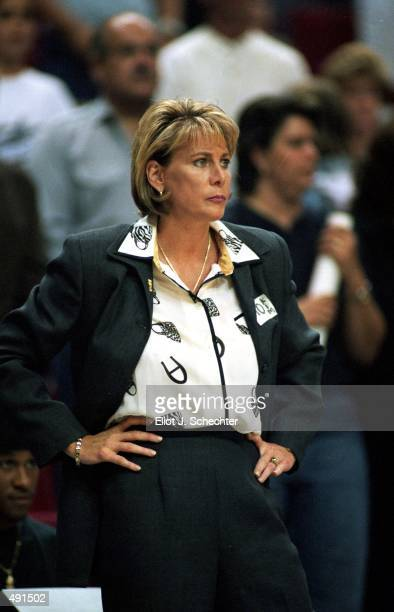 Head coach Nancy Lieberman Cline of the Detroit Shock looks on from the sidelines during the game against the Orlando Miracle at the Orlando Arena in...