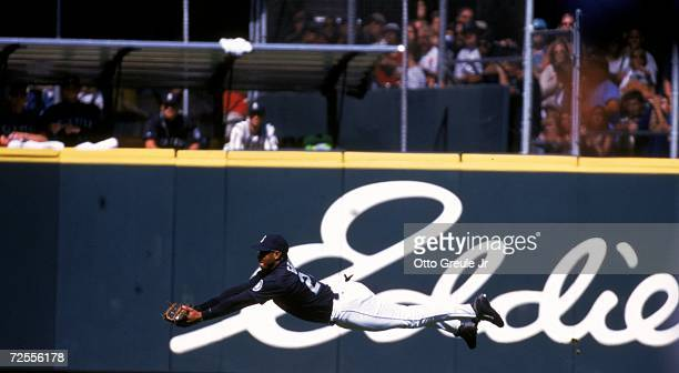 Ken Griffey Jr #24 of the Seattle Mariners moves for the ball during the game against the Cleveland Indians at the Safeco Field in Seattle Washington...
