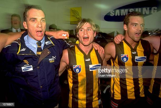 Ken Judge Shane Crawford and Aaron Lord of Hawthorn celebrate after the AFL Round 19 match against Melbourne played at Waverley Park in Melbourne...