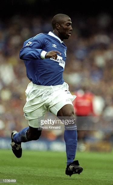 Kevin Campbell of Everton in action during the FA Carling Premiership match against Manchester United played at Goodison Park in Liverpool England...