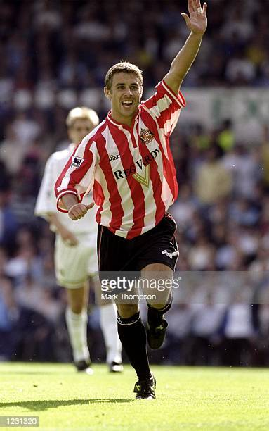 Kevin Phillips of Sunderland celebrates during the FA Carling Premiership match against Leeds played at Elland Road in Leeds England Leeds won the...