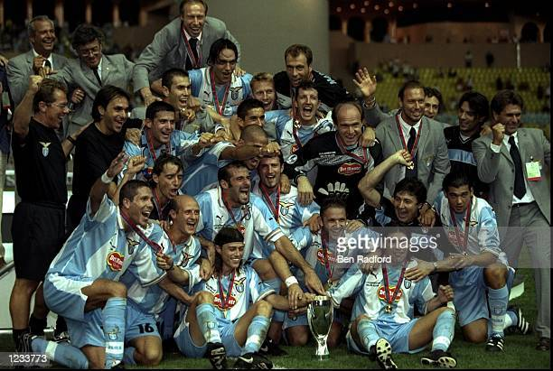Lazio celebrates winning the UEFA Super Cup match against Manchester United at the Stade Louis II stadium Monaco Mandatory Credit Ben Radford...