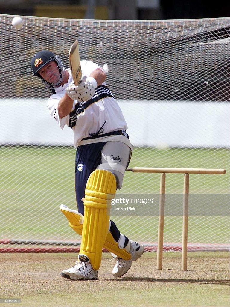 Mark Waugh drives hard with an odd stump arrangement behind him, during Australian training at Premadasa Stadium, Colombo, Sri Lanka. Mandatory Credit: Hamish Blair/ALLSPORT