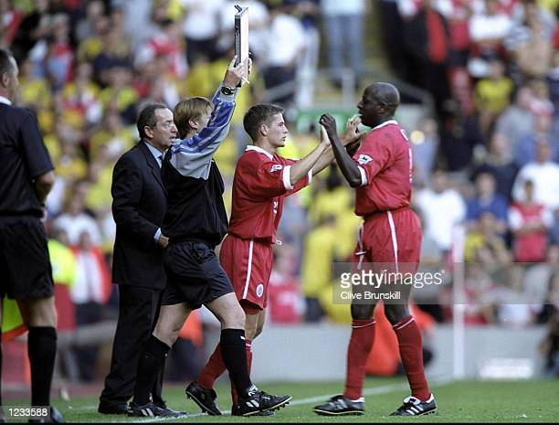 Michael Owen of Liverpool comes on as a substitute for Titi Camara during the FA Carling Premiership match against Arsenal at Anfield in Liverpool...