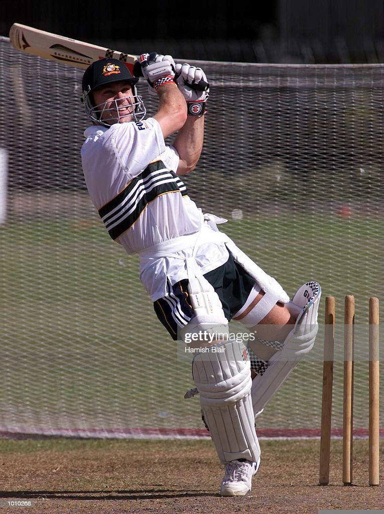 Michael Slater lashes out, during Australian test team training at Premadasa Stadium, Colombo, Sri Lanka. Mandatory Credit: Hamish Blair/ALLSPORT