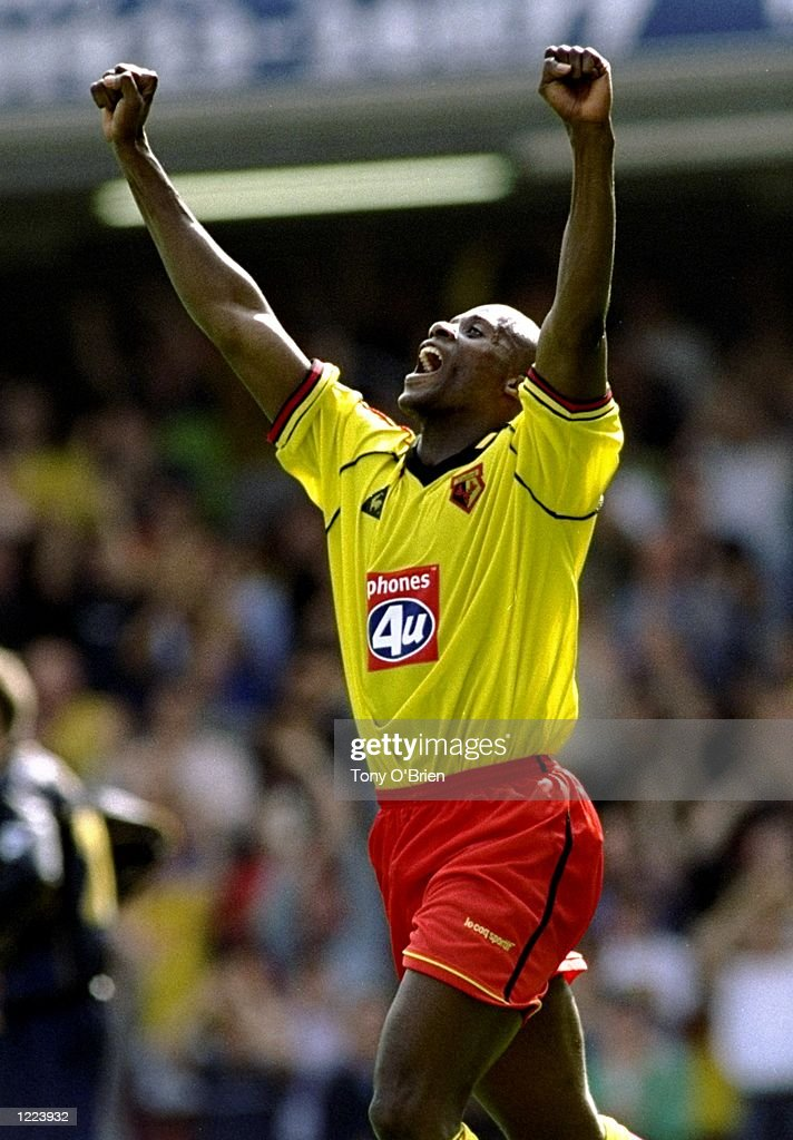 Michel Nonge of Watford celebrtes his goal and Watford's equaliser during the FA Carling Premiership match against Wimbledon played at Vicarage Road in Watford, London. The match finished in a 3-2 win for Wimbledon. \ Mandatory Credit: TonyO''Brien /Allsport
