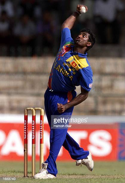 Muttiah Muralitharan of Sri Lanka bowling during the match between Sri Lanka and India at Premadasa Stadium Colombo Sri Lanka Mandatory Credit Hamish...