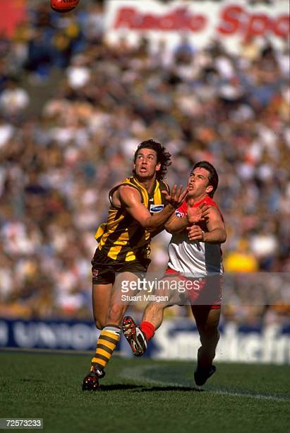 Nathan Thompson of the Hawthorn Hawks battles for the mark with Andrew Dunkley of the Sydney Swans during the AFL Round 22 match played at Waverley...