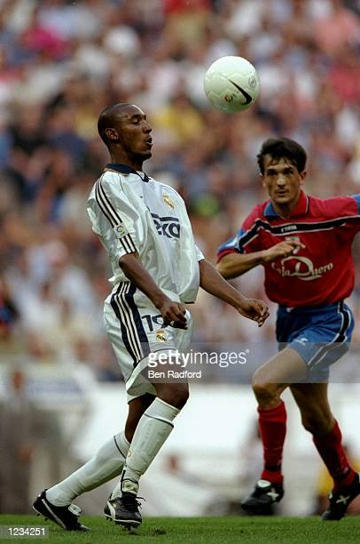 Nicolas Anelka of Real Madrid in action during the Spanish Primera Liga match between Real Madrid and Numancia at the Bernabeu Stadium, Madrid,...