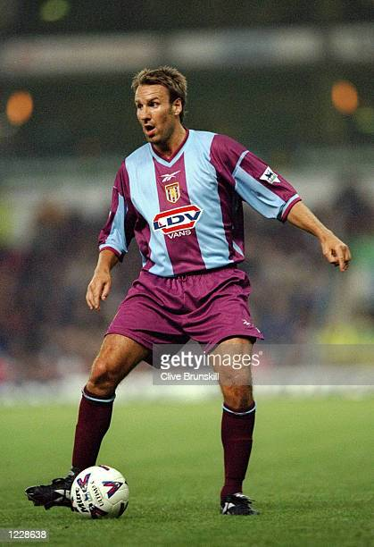 Paul Merson of Aston Villa in action during the FA Carling Premiership match against Everton played at Villa Park in Birmingham England The match...