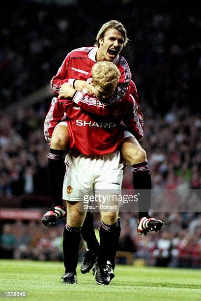 Paul Scholes of Manchester United celebrates his goal with teammate David Beckham during the FA Carling Premiership match against Sheffield Wednesday...