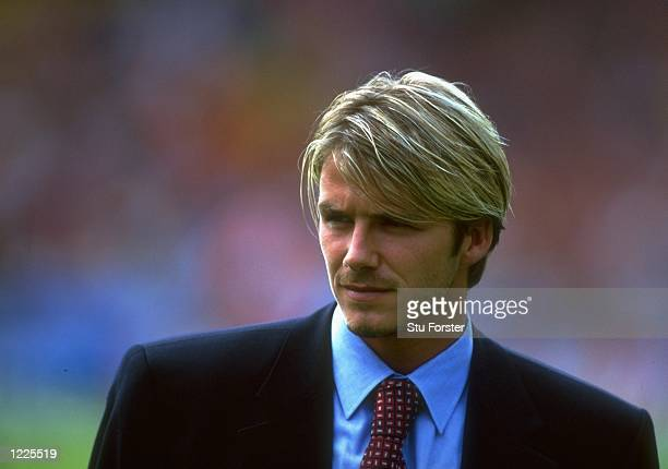Portrait of David Beckham of Manchester United before the FA Charity Shield match against Arsenal played at Wembley Stadium in London England The...
