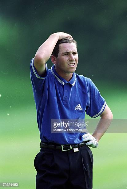 Sergio Garcia looks on during the World Golf Championships NEC Invitational at the Firestone Country Club in Akron Ohio Mandatory Credit Matthew...