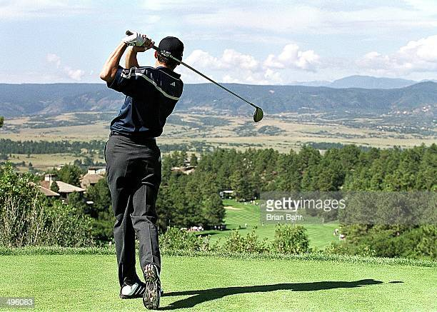 Sergio Garcia tees off during The Sprint International at Castle Pines Golf Club in Castle Rock Colorado