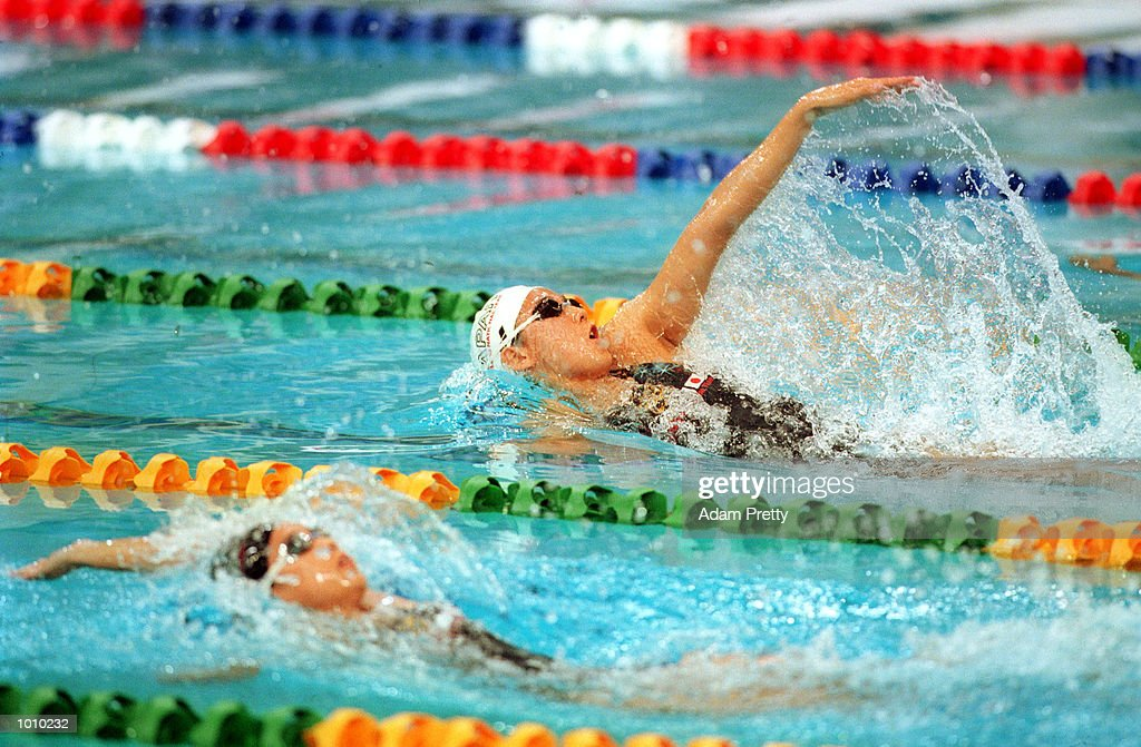 Tomoko Hagiwara of Japan in action whilst winning the womens 200 metres backstroke gold medal during day seven of the Pan Pacific Swimming Championships at the Aquatic Centre, Homebush, Sydney, Australia. Mandatory Credit: Adam Pretty/ALLSPORT