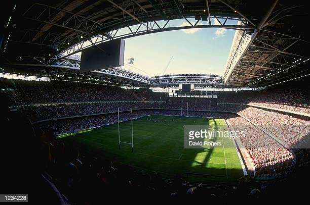 View of the Millennium Stadium in Cardiff Wales the venue for the Rugby World Cup Final in 1999 during the World Cup warm up match between Wales and...
