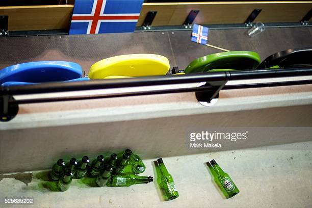 Aug 2 2012 London England United Kingdom Bottles of beer are heaped together by fans after a Iceland and compete in handball at the Copper Box during...