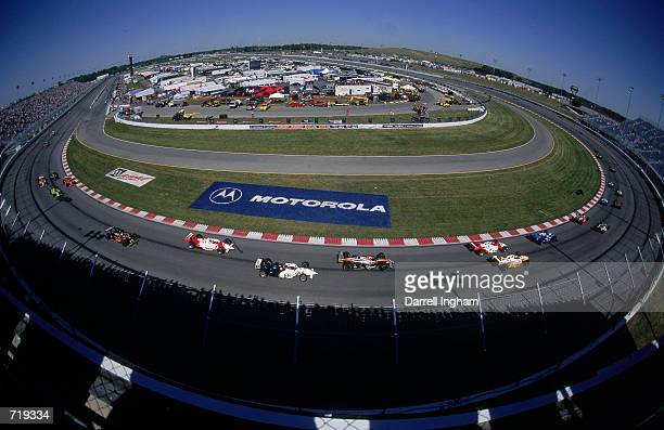 A fish eye view of the races start taken during the Motorola 300 part of the 2000 CART FedEx Championship series at the Gateway International Raceway...