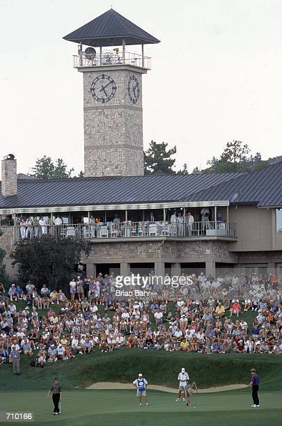 A general view with Ernie Els Greg Norman and Stuart Appleby on the green during The International Presented By Quest at the Castle Pines Golf Club...