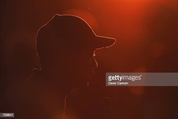 A silhouette of Tiger Woods during the Awards Ceremony for the PGA Championship part of the PGA Tour at the Valhalla Golf Club in Louisville...