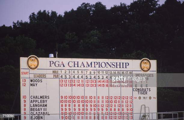 A view of the final scoreboard at the end of the playoff between Bob May and Tiger Woods during the PGA Championship part of the PGA Tour at the...