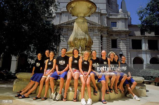 A view of the US Olympic Swim Team as they pose for a group photo at City Hall in Pasadena CaliforniaMandatory Credit Donald Miralle /Allsport