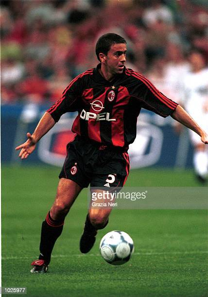 Alessandro Costacurta of AC Milan in action during the Coppa Del Centenario preseason match between AC Milan and Real Madrid at the San Siro Stadium...