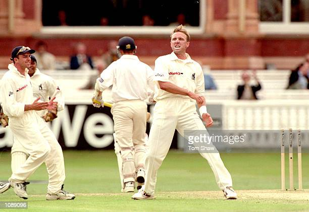 Allan Donald of Warwickshire celebrates the wicket of Gloucestershire's Tim Hancock during the Natwest Cup Final at Lord's in London Gloucestershire...