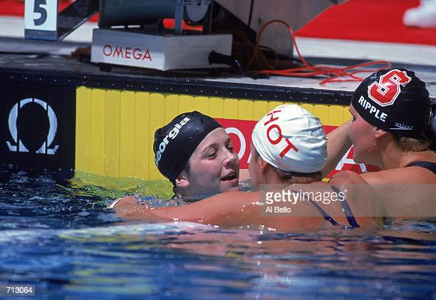 Amanda Adkins Shelly Ripple and Beth Botsford all gather and celebrate after the Women's 200 meter Backstroke Finals during the US Olympic Swim...