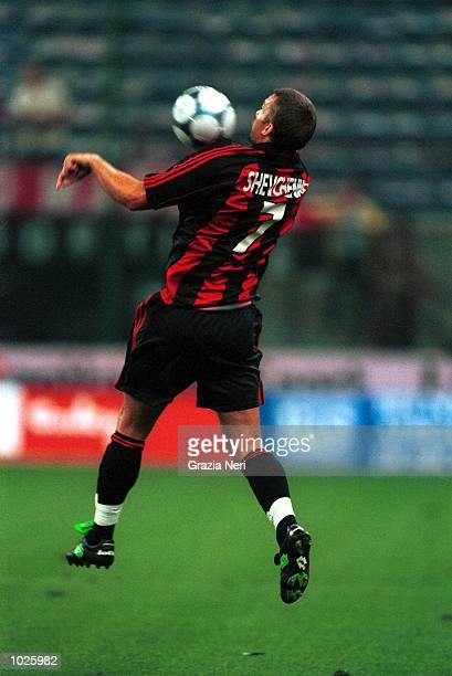 Andriy Shevchenko of AC Milan in action during the Coppa Del Centenario preseason match between AC Milan and Real Madrid at the San Siro Stadium...