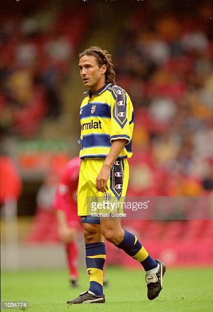 Antonio Benarrivo of Parma in action during the PreSeason Friendly match against Liverpool at Anfield in Liverpool England Liverpool won the match 50...