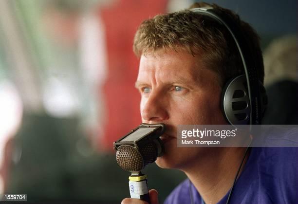 BBC TV commentator Steve Cram in the commentary Box at Crystal Palace Athletics Stadium London Mandatory Credit Mark Thompson/ALLSPORT