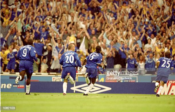 Chelsea celebrate during the Charity Shield match against Manchester United played at Wembley Stadium in London Chelsea won the match 20 Mandatory...
