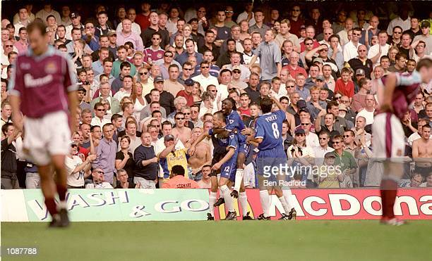 Chelsea celebrate Mario Stanic goal during the FA Carling Premiership match against West Ham played at Stamford Bridge in London Chelsea won the...