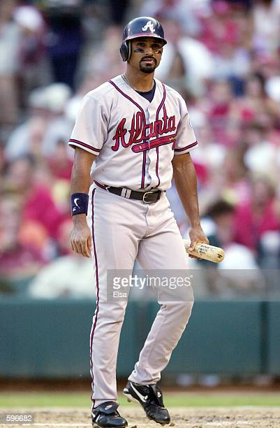 Dave Martinez of the Atlanta Braves walks to the plate during the game against the St Louis Cardinals at Busch Stadium in St Louis Missouri The...