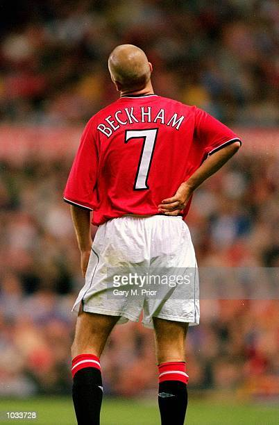 David Beckham of Manchester United during Denis Irwin's testimonial match against Manchester City at Old Trafford in Manchester England Mandatory...