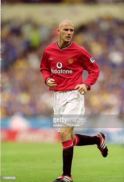 David Beckham of Manchester United in action during the FA Charity Shield match against Chelsea at Wembley Stadium in London Chelsea won the match 20...