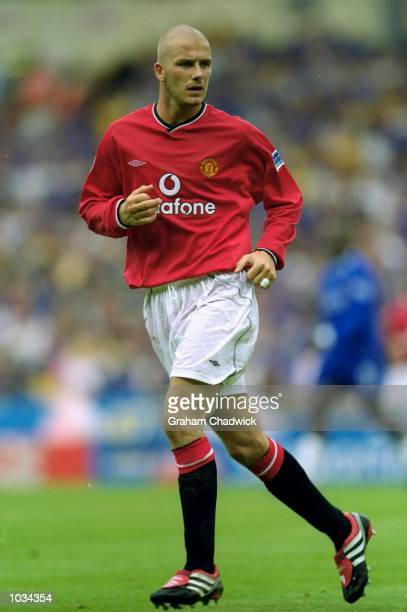 David Beckham of Manchester United in action during the Charity Shield against Chelsea at Wembley Stadium in London Chelsea won the match 20...