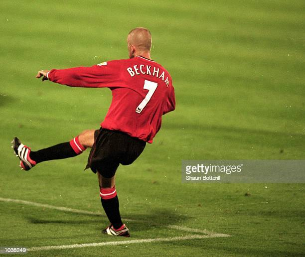 David Beckham of Manchester United shoots at goal during the FA Carling Premiership match against Ipswich Town at Portman Road in Ipswich England The...