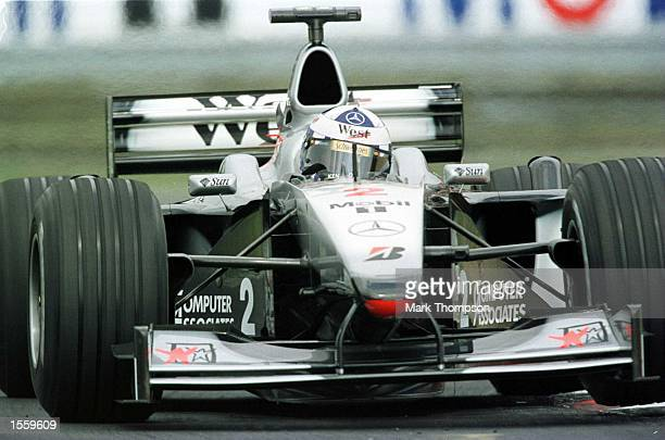 David Coulthard of Great Britain and McLaren during the first free practice session for the Hungarian Grand Prix at Budapest Hungary Mandatory Credit...
