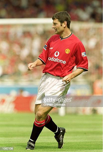 Dennis Irwin of Manchester United in action during the Charity Shield match against Chelsea played at Wembley Stadium in London Chelsea won the match...