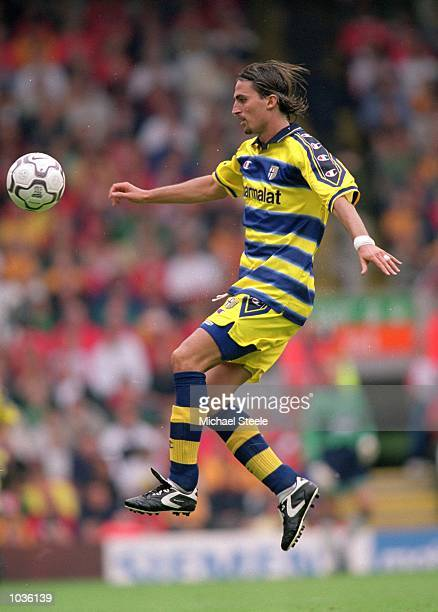 Dino Baggio of Parma in action during a pre-season friendly against Liverpool at Anfield in Liverpool, England. Liverpool won the match 5-0. \...