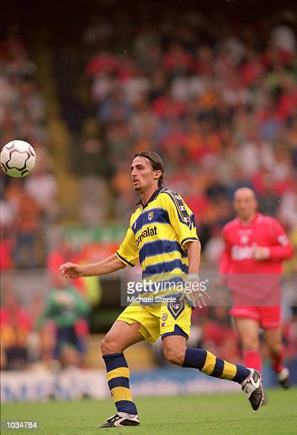 Dino Baggio of Parma in action during the Pre-Season Friendly match against Liverpool at Anfield, in Liverpool, England. Liverpool won the match 5-0....