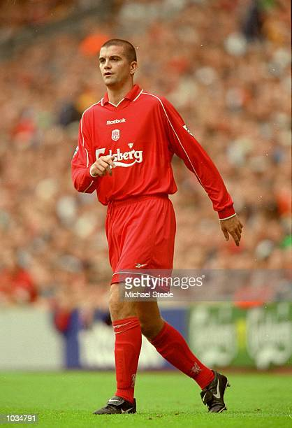 Dominic Matteo of Liverpool in action during the PreSeason Friendly match against Parma at Anfield in Liverpool England Liverpool won the match 50...
