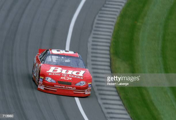 Driver Dale Earnhardt Jr #8 who drives a Chevrolet Monte Carlo for Dale Earnhardt Inc speeds around the corner during the Brickyard 400 part of the...