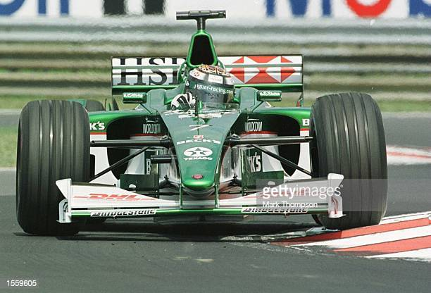 Eddie Irvine of Great Britain and Jaguar during the second free practice session for the Hungarian Grand Prix at Budapest Hungary Mandatory Credit...