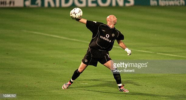 Fabien Barthez of Manchester United clears the ball during the FA Carling Premiership match against Ipswich Town at Portman Road in Ipswich England...