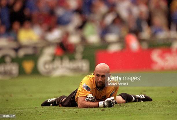 Fabien Barthez of Manchester United looks on as Chelsea score the winning goal during the One 2 One FA Charity Shield match at Wembley Stadium London...
