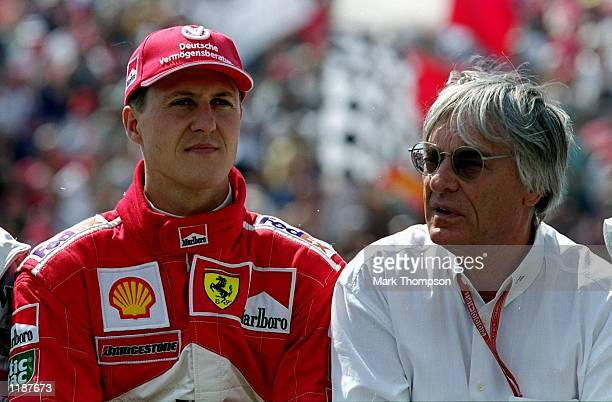 Ferrari driver Michael Schumacher with Bernie Ecclestone before the Formula One Hungarian Grand Prix at the Hungaroring near Budapest in Hungary...